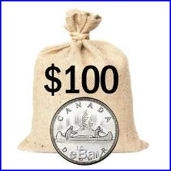 $100 Face Value Bag Canada Silver Dollar Random Year 80% Junk Silver Coins