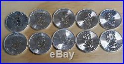 10 2014 1 oz Silver Canadian Maple Leaf Coins 10 Troy Ounces