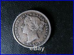 10 cents 1883H Canada small silver coin Queen Victoria c ¢ dime F-15