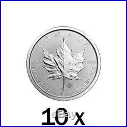 10 x 1 oz 2018 Silver Maple Leaf Coin RCM Royal Canadian Mint