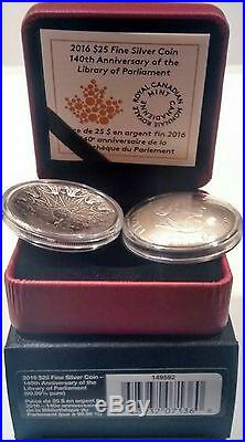 140th Anniversary Library Parliament 2016 $25 Pure Silver Concave Coin