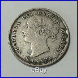 1858 Canada Silver 20 Cents Coin RARE VF