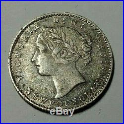 1865 Canada Newfoundland Silver 10 Cents Coin VF/XF