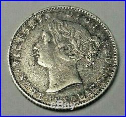 1865 Newfoundland Silver 10 Cents Coin VF/XF