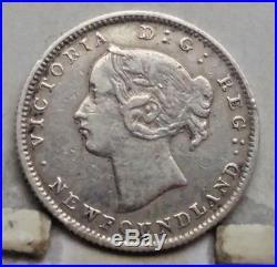 1865 Newfoundland Silver 5 Cents Coin X F