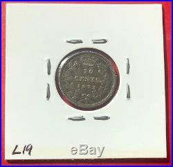 1872 H Canada Silver 10 Cent Dime Coin Key Date $375 Fine