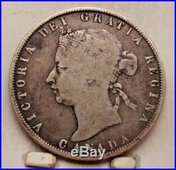 1872-H Canada Silver 50 Cents Coin Inv. A/V RARE