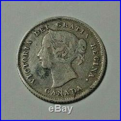 1875 Canada Silver 5 Cent Coin LD F/VF KEY DATE