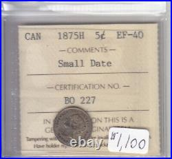 1875h Small Date Canadian 5 Cent Coin Iccs Cert Ef-40