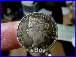 1881h Canada Silver 25 Cents Coin Victoria, Nice High Details Grade
