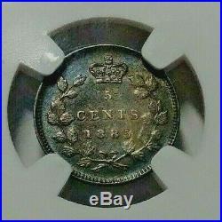 1885 Canada Silver 5 Cent Coin Sm5/Lg5 NGC AU-55 RARE