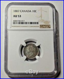1887 Canada Silver 10 Cents Coin NGC AU-53 KEY DATE