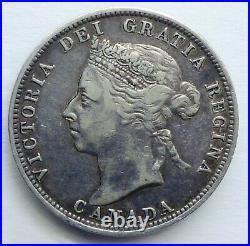 1888 Canada 25 Cents. Queen Victoria Silver Coin