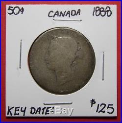 1888 Canada 50 Cent Silver Coin Fifty Half Dollar K56 $125 Key Date