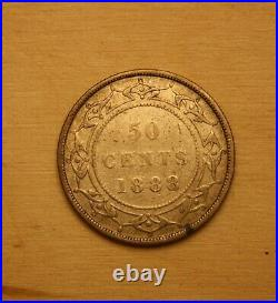 1888 Newfoundland Silver 50 Cent Half Dollar Coin Solid Old Coin Key Date