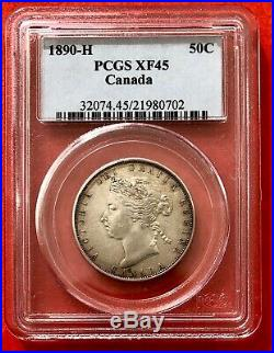 1890 H Canada Silver Half Dollar 50 Cent Coin Trend 13k PCGS XF-45