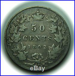 1892 Canada 50 Cents Silver Coin -0bverse 3 No Reserve