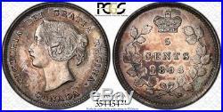 1893 Canada Silver 5 Cents Coin PCGS AU-58