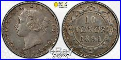 1894 Canada Newfoundland Silver 10 Cents Coin PCGS XF Details