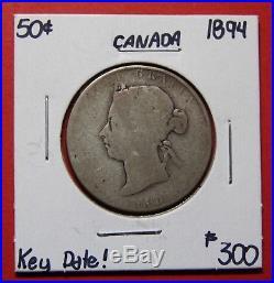 1894 Canada Silver Half Dollar 50 Cent Coin BI248 $300 Scarce Date