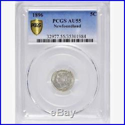 1896 NewFoundLand Silver 5 Cents Coin PCGS AU-55 RARE