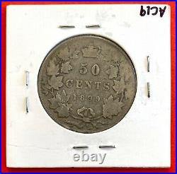 1899 Canada Silver Half Dollar 50 Cent Coin G/VG