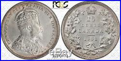 1902 Canada Silver 25 Cents Coin PCGS AU-58 RARE