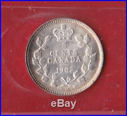 1902 Large H Canada Silver Five Cent Coin 9020 ICCS MS 64 Old Holder! $175