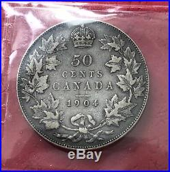 1904 Canada Silver Half Dollar 50 Cent Coin Key Date VF-30 Undergraded