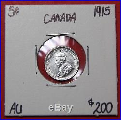 1915 Canada 5 Cents Silver Coin 8619 $200 AU Tough Date