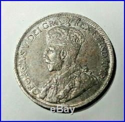 1919 Canada Newfoundland Silver 25 Cents Coin AU