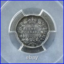1921 Canada 5 Cents Silver Coin PCGS XF Details Tooled