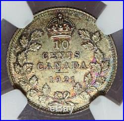 1921 Canada Ten 10 Cents Silver Coin NGC MS 65 KM# 23a TOP POP