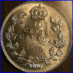 1930 Canada Silver 10 Cents Coin Iccs Ms-63