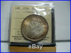 1936 Canada Silver Dollar Coin I. C. C. S. Graded Ms-64 Coins