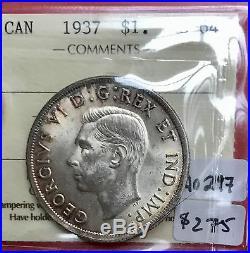 1937 Canada 1 Dollar Silver Coin One A0297 $275 ICCS MS 64 Attractive Original