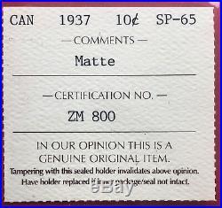 1937 Matte SPECIMEN Canada Silver 10 Cent Dime Coin ICCS SP 65 Nice Colour