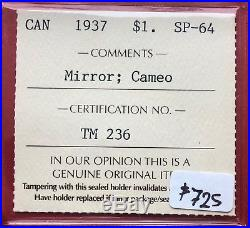 1937 Mirror SPECIMEN Canada Silver One Dollar Coin ICCS SP 64 Cameo
