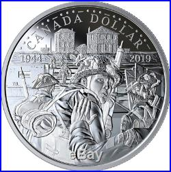 1944-2019 D-Day 75th Anniv Proof Pure Silver Dollar $1 Canada Coin, Juno Beach