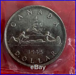 1945 Canada 1 Dollar Silver Coin One Dollar MX42 ICCS AU-50 Harshly Cleaned