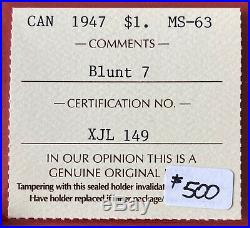 1947 Blunt 7 Canada 1 Dollar Silver Coin One Dollar ICCS MS-63