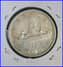 1947 ML 80% Silver Dollar Coin, About Vf+, Die Deterioration HP