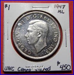 1947 ML Maple Leaf Canada Silver One Dollar Coin BI384 $450 UNC Cameo cld