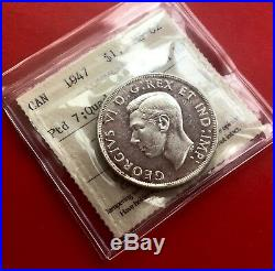 1947 Pointed Ptd 7 Quad HP Canada 1 Dollar Silver Coin One Dollar ICCS MS-62