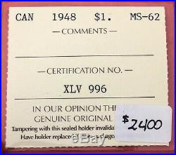 1948 Canada 1 Dollar Silver Coin One Dollar $2400 ICCS MS-62 Key Date