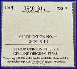 1948 Canada 1 Dollar Silver Coin One Dollar ICCS MS 63 Choice Unc