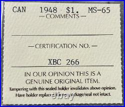 1948 Canada 1 Dollar Silver Coin One Dollar ICCS MS 65 Gem Unc Nice Toning