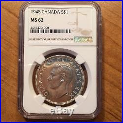 1948 Canada Dollar, $1 Silver Coin, Full Brilliance, NGC MS 62, THIS IS THE ONE