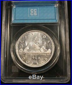 1948 Canada Silver Dollar AU-55 CCCS Hard Holder. Blast White Rare Coin
