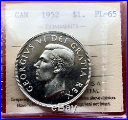 1952 NWL Canada 1 Dollar Silver Coin One Dollar ICCS PL-65 Old Holder